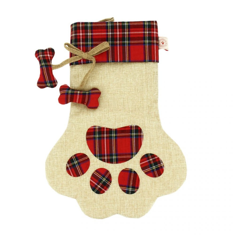 Paw-shaped Christmas Dog Stocking