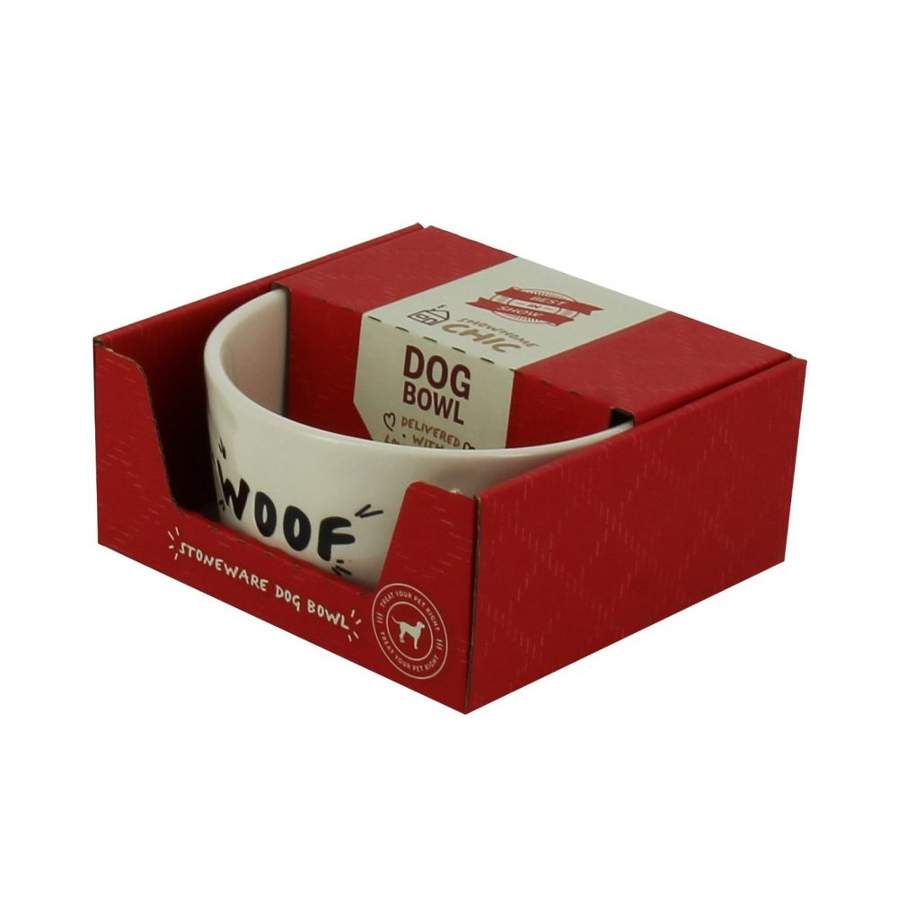 Woof Dog Bowl with packaging